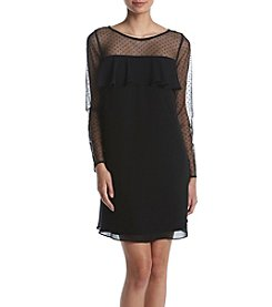 Jessica Howard Petites' Sheer Illusion Neck Dress
