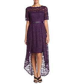 Adrianna Papell High Low Belted Lace Long Dress