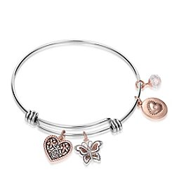 Gratitude and Grace Two Tone Silver and Gold Plated Heart and Butterfly Charms Dangle