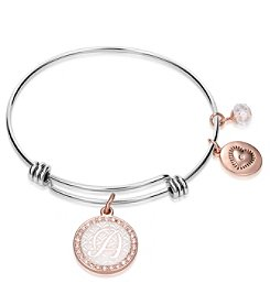 Gratitude and Grace Stainless Steel Bangles with Silver Plated Initial Charms