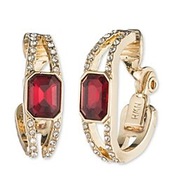 Anne Klein® Red Clip-On Hoop Earrings