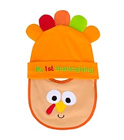 Cuddle Bear® Babys' First Thanksgiving Hat and Bib Set