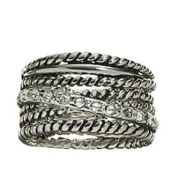 City x City Fine Silver Plated Multi Textured Band