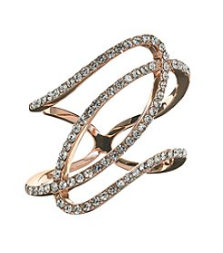 City x City Rose Gold Over Fine Silver Plated  Pave Swirl Ring