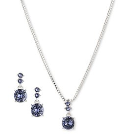 Nine West® Silvertone Necklace and Drop Earrings Set