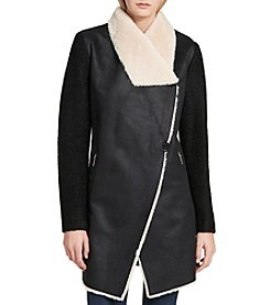 Calvin Klein Faux Shearling Wrap Coat
