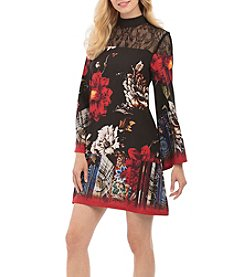 Nicole Miller New York Mock Neck Floral Printed Dress