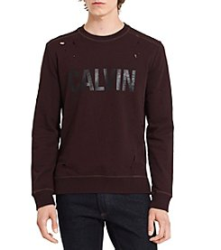 Calvin Klein Jeans Men's Distressed Logo Sweatshirt
