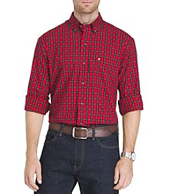 IZOD Men's Long Sleeve Button Down Holiday Tartan Shirt