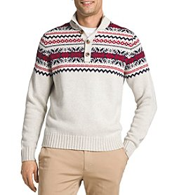 IZOD Men's Long Sleeve Mock Neck Fair Isle Sweater