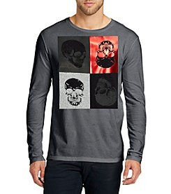 William Rast Men's Long Sleeve Skull Graphic Tee