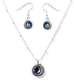 L&J Accessories Silvertone Flatback Necklace and Earrings Set