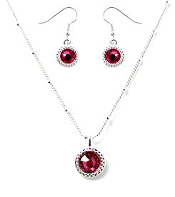 L&J Accessories Silvertone Crystal Flatback Necklace and Earrings Set