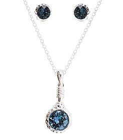 L&J Accessories Silvertone Denim Blue Flatback Necklace and Earrings Set