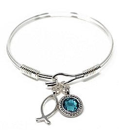 L&J Accessories Silvertone Light Turquoise Crystal Fish Charm Bracelet