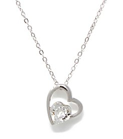 L&J Accessories Silvertone Crystal Heart Pendant Necklace