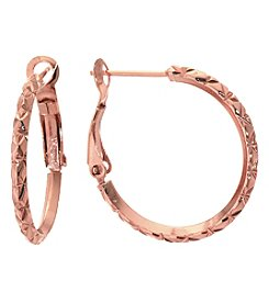 Athra Rose Goldtone Diamond Cut Hoop Earrings