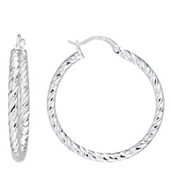 Athra Silvertone Hoop Earrings