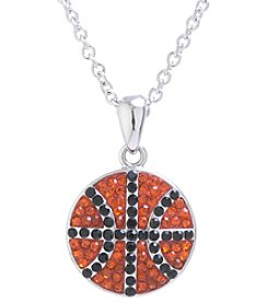 Athra Silvertone Basketball Pendant Necklace