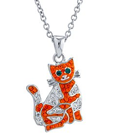 Athra Silvertone Crystal Cat Necklace