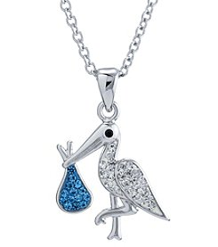 Athra Sterling Silver Stork Crystal Necklace