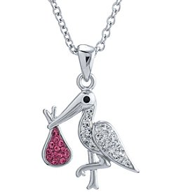 Athra Silvertone Stork Crystal Necklace
