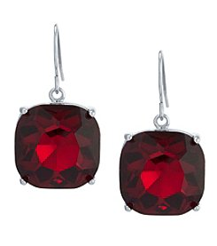 Athra Sterling Silver Crystal Cushion Earrings