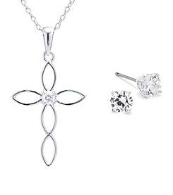 Athra Brass Cubic Zirconia Cross Set