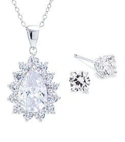 Athra Silvertone Cubic Zirconia Necklace and Earring Set