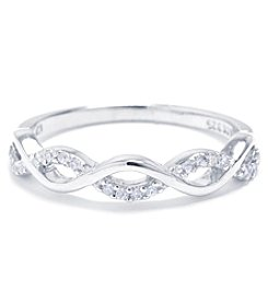 Athra Sterling Silver Cubic Zirconia Infinity Ring