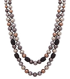 Anne Klein Hematite Two Row Collar Necklace