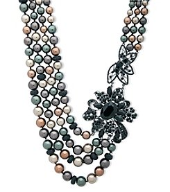 Anne Klein Hematite Multi Row Drama Necklace