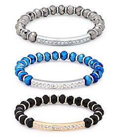 GUESS Two-Tone Jet Crystal Chain Bracelet Set