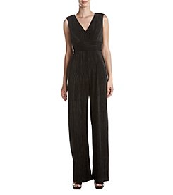 Adrianna Papell V-Neck Pleated Glitter Jumpsuit