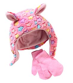 Miss Attitude Baby Girls' Stars Fuzzy Fleece Hat And Mittens Set