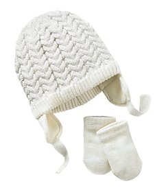 Little Miss Attitude Baby Girls' Basketweave Hat And Mittens Set