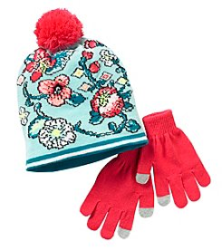 Miss Attitude Girls' Floral Beanie With Pom And Gloves Set
