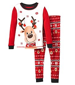Komar Kids Boys' 2T-4T 2 Piece Long Sleeve Reindeer Ornament Antlers Top And Pants Pajama Set