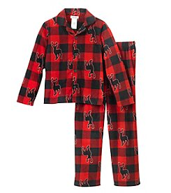 Komar Kids Boys' 4-16 Long Sleeve Check Moose Print Coatfront Top And Pants Pajama Set