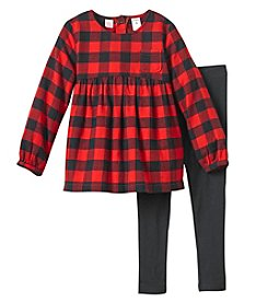Carter's Girls' 4-8 2 Piece Buffalo Checkered Print Long Sleeve Dress And Leggings Set