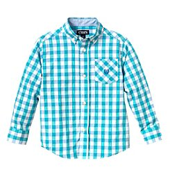 Chaps Boys' 4-20 Long Sleeve Plaid Camp Shirt