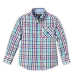 Chaps Boys' 4-20 Long Sleeve Plaid Woven Shirt