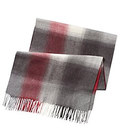 V. Fraas Ombre Box Plaid Loop Scarf