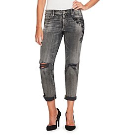 Jessica Simpson Destructed Detail Floral Embroidery Jeans