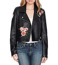 Jessica Simpson Floral Embroidered Faux Leather Jacket