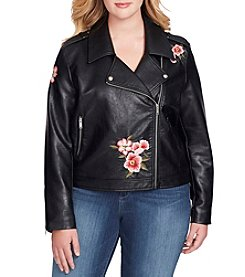 Jessica Simpson Plus Size Floral Embroidered Faux Leather Jacket