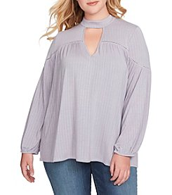 Jessica Simpson Plus Size Back Tie Choker Neckline Peasant Top
