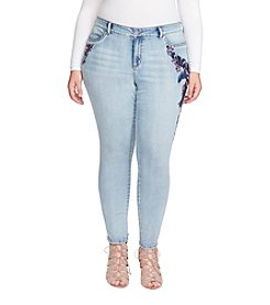 Jessica Simpson Plus Size Kiss Me Skinny Embroidery Sequin Jeans