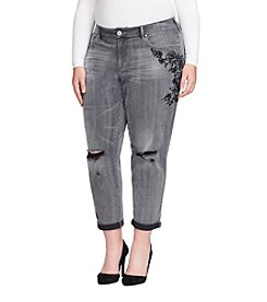 Jessica Simpson Plus Size Destructed Detail Floral Embroidery Jeans