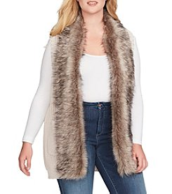 Jessica Simpson Plus Size Faux Fur Collar Sweater Vest
